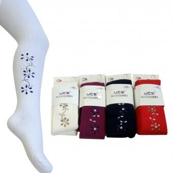 Çiçek Desenli Taşlı Çocuk Külotlu Çorap