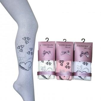 Kalp Desenli Taşlı Külotlu Çocuk Çorap