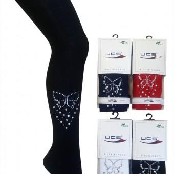 Kelebek tasarım taşlı çocuk külotlu çorap