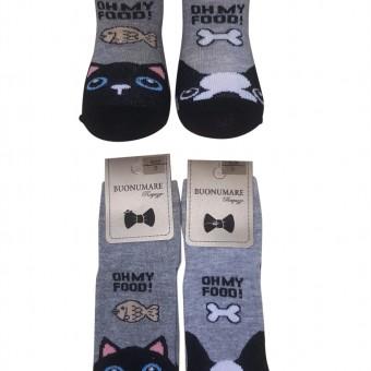 Kedi-köpek desen erkek çocuk pamuk çorap