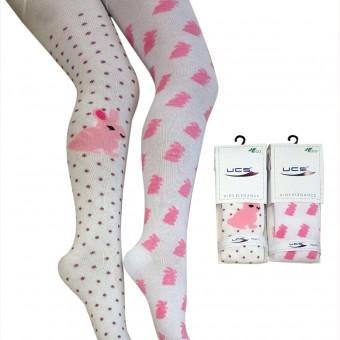 Puantiyeli tavşan desen kız çocuk külotlu çorap