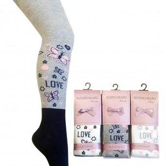 Love kelebek desen kız çocuk külotlu çorap