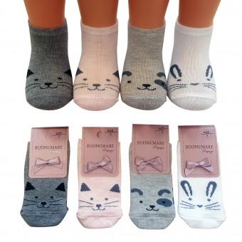 Kedi ve tavşan desen çocuk kısa pamuk çorap