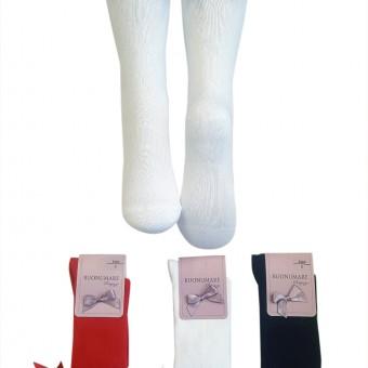 Fiyonk aksesuarlı çocuk dizaltı çorap