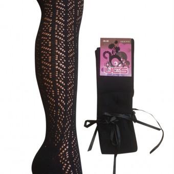 Bayan fiyonk aksesuarlı dizaltı file çorap