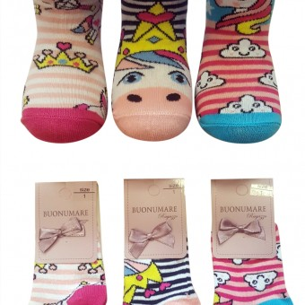 Unicorn desen kız çocuk pamuk çorap