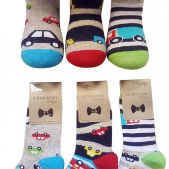 Çember ve araba desen erkek çocuk pamuklu çorap