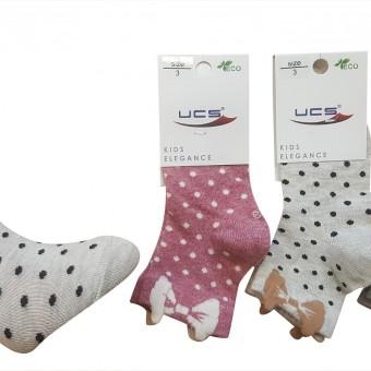 3D fiyonk desen puantiyeli kız çocuk pamuk çorap