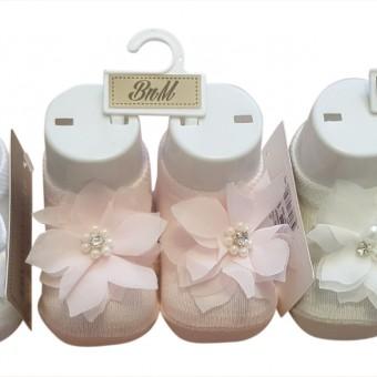 Çiçek aksesaurlı ayak mankenli kız bebe çorap
