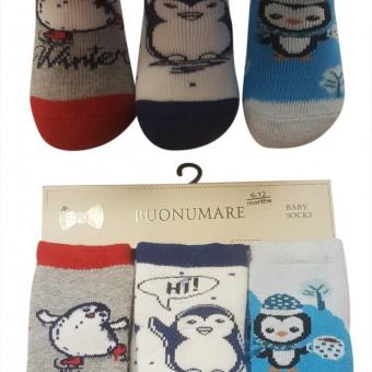 Penguen desen kışlık bebe üçlü çorap
