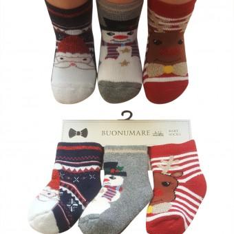 Fiyonklu geyik desen bebek kışlık çorap