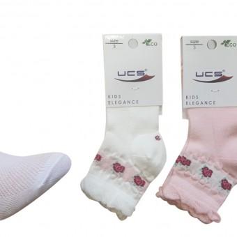Güller desen kız çocuk pamuklu çorap