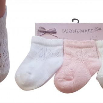 File desen bebek üçlü pamuk çorap